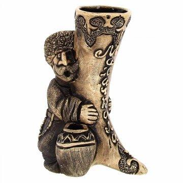 """Подарочная статуэтка ручной работы """"С рогом Махачкала"""" обожженная глина"""