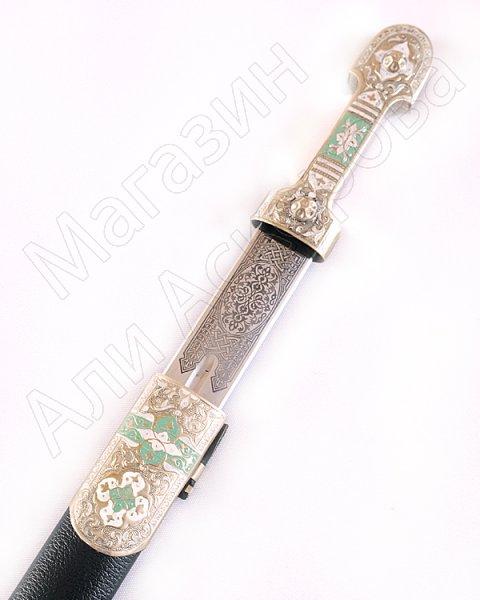 Кавказский кинжал Ирбис №3  (ножны мельхиор с эмалью, натуральная кожа)