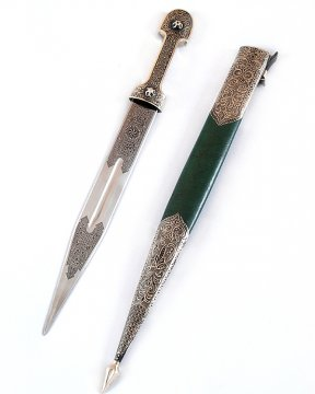 Кавказский кинжал Ирбис №2 (ножны мельхиор, натуральная кожа)
