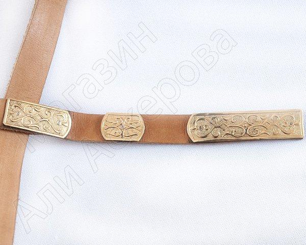 Мужской пояс ручной работы мастера Гасана Гаджиахмедова (латунь и натур.кожа)