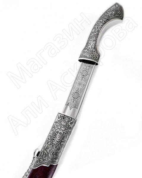 Кинжал (турецкий ятаган) Янычар №2 (ножны – мельхиор и натур.кожа)