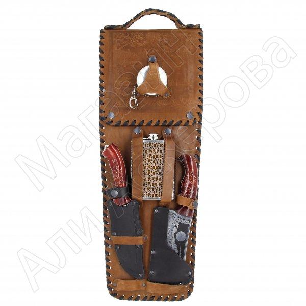Кизлярский шашлычный набор в кожаном чехле №14