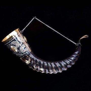 Элитный рог кавказского тура мельхиоровый с медальонами