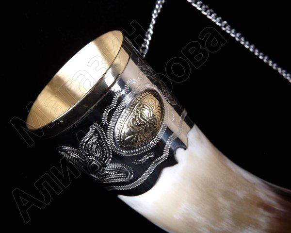 Кавказский рог бычий малый (отделка - мельхиор, медальоны - латунь)