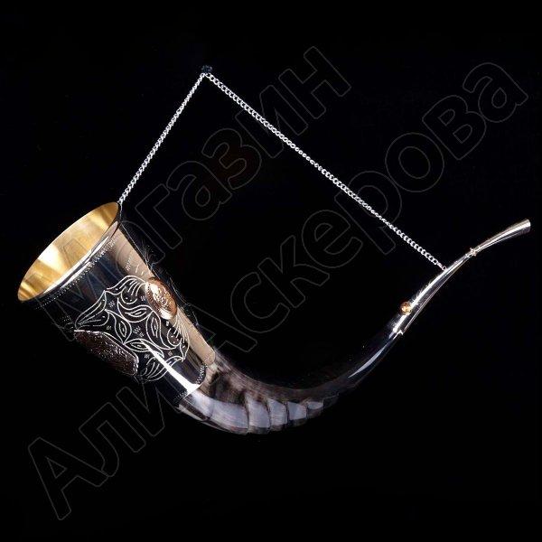 Элитный рог кавказского тура мельхиоровый с медальонами и орнаментом №2 (80-85 см)