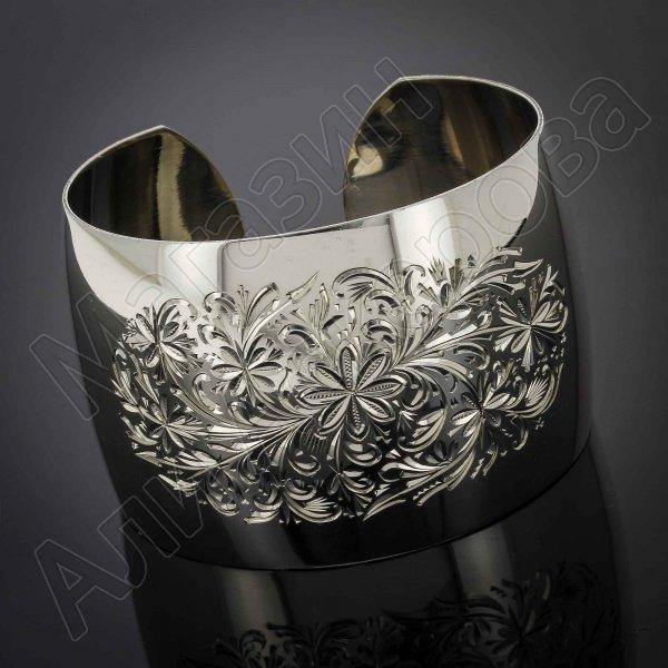 Серебряный кубачинский браслет белый №23