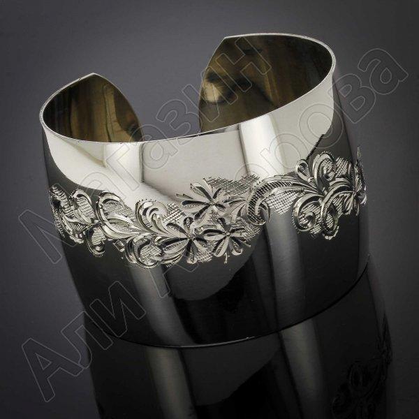Серебряный кубачинский браслет белый №30