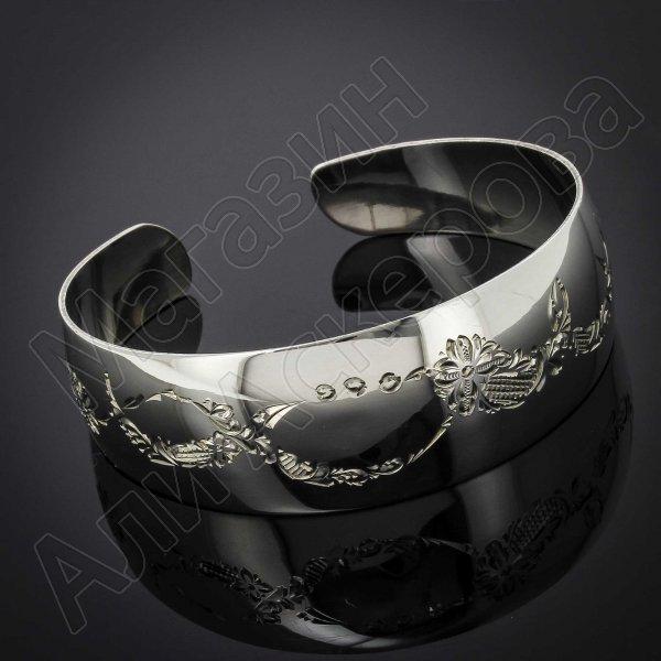 Серебряный кубачинский браслет белый №41