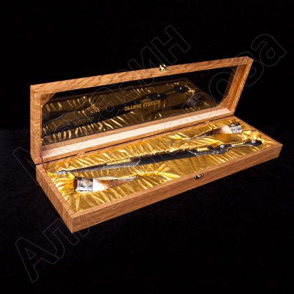 Кубачинский подарочный набор (кинжал с позолоченными вставками и 2 бычьих рога)