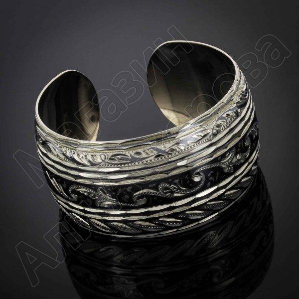 Серебряный кубачинский браслет комбинированный №31