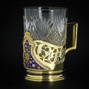 Серебряный подстаканник Кубачи с эмалью (стакан и коробка - в подарок) арт.3563