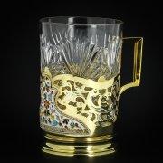 Серебряный подстаканник Кубачи с эмалью (стакан и коробка - в подарок) арт.3565