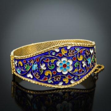 Серебряный кубачинский браслет с эмалью №4