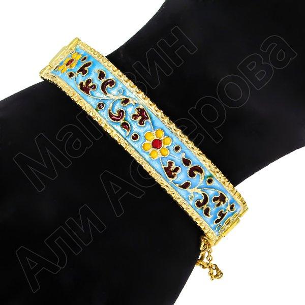 Серебряный кубачинский браслет с эмалью №8