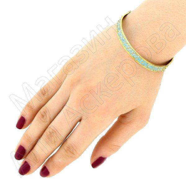 Серебряный кубачинский браслет с эмалью №10