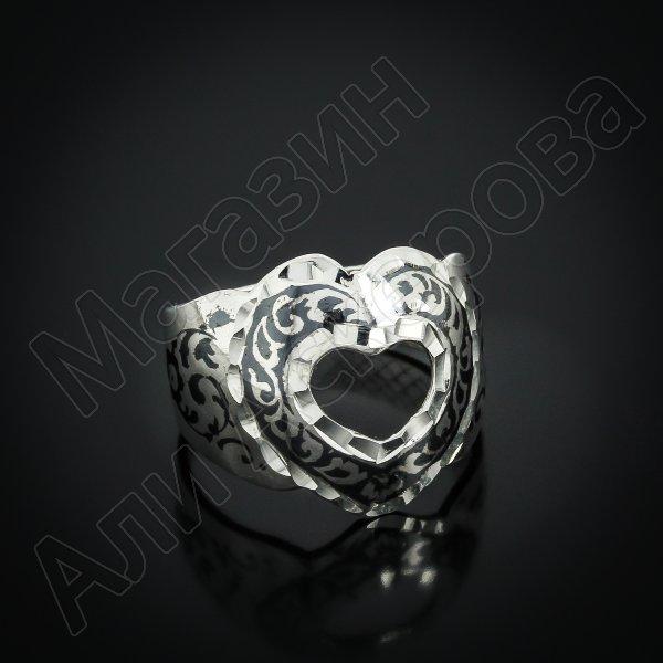 """Кубачинское серебряное кольцо ручной работы """"Сердце"""""""