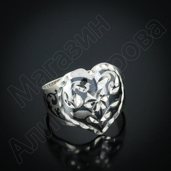 """Кубачинское серебряное кольцо ручной работы """"Любовь"""""""