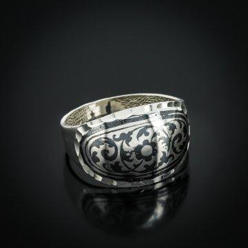 """Кубачинское серебряное кольцо ручной работы """"Сияние"""""""