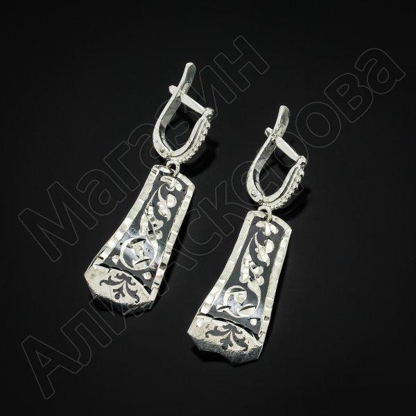 Кубачинские серебряные серьги ручной работы с чернением №11