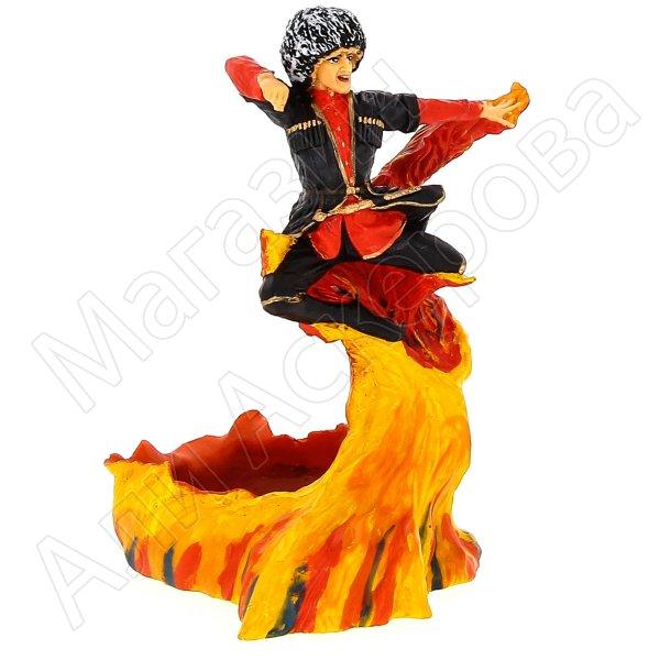 """Подарочная статуэтка-пепельница ручной работы """"Пламя"""" (обожженная глина)"""