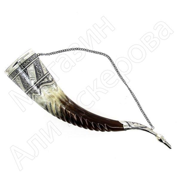 Элитный серебряный рог Кубачи с пиалой №3 (подарочный, питьевой)