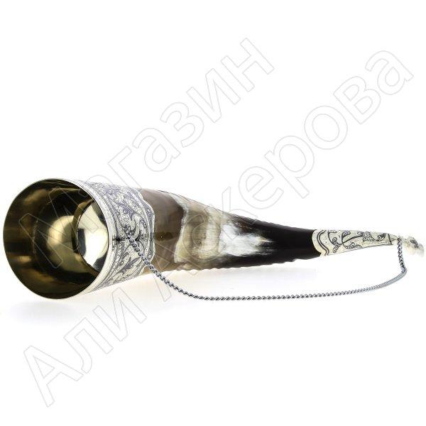 Элитный серебряный рог Кубачи с пиалой №6 (подарочный, питьевой)