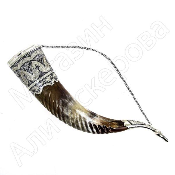 Элитный серебряный рог Кубачи с пиалой №10 (подарочный, питьевой)