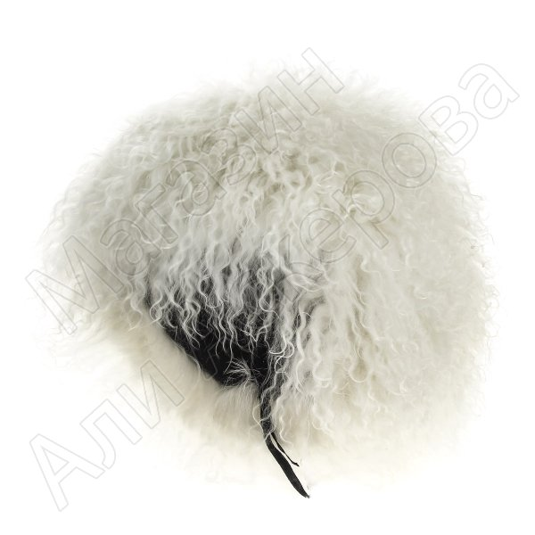 Кавказская папаха чабанская белая из натуральной овчины (длинный волос) арт.3933