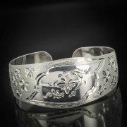 Серебряный кубачинский браслет с гравировкой арт.483