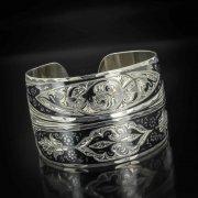 Серебряный кубачинский браслет с чернением арт.495