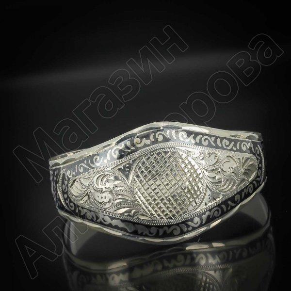Серебряный кубачинский браслет широкий №17