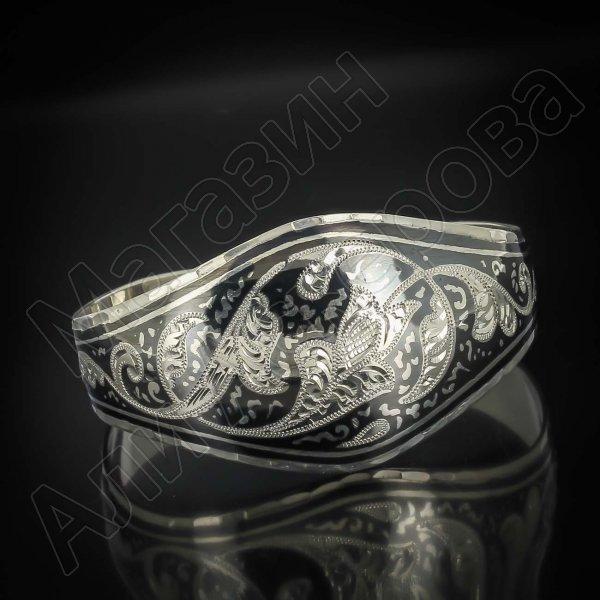 Серебряный кубачинский браслет широкий №16