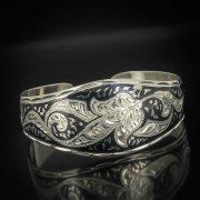 Серебряный кубачинский браслет с чернением арт.533