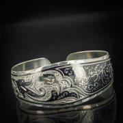 Серебряный кубачинский браслет с чернением арт.534