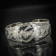 Серебряный кубачинский браслет широкий №3 арт.545