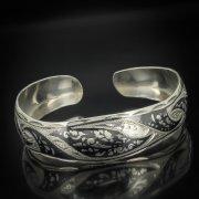Серебряный кубачинский браслет с чернением арт.565