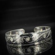 Серебряный кубачинский браслет узкий №4 арт.599