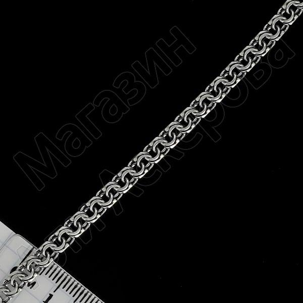 Серебряная цепь Бисмарк 60 см (ширина 0,6 см)