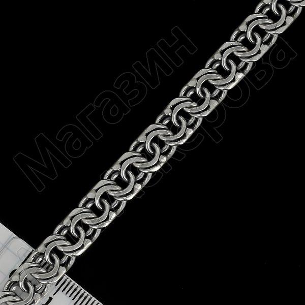 Серебряный браслет Бисмарк 22 см (ширина 0,8 см)