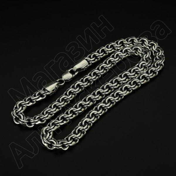 Серебряная цепь Бисмарк 55 см (ширина 1 см)