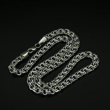 Серебряная цепь Бисмарк 65 см (ширина 1 см)
