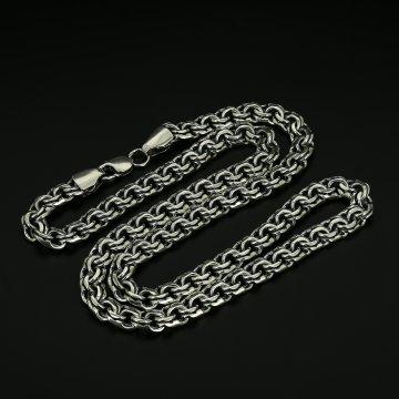 Серебряная цепь Бисмарк 70 см (ширина 1 см)