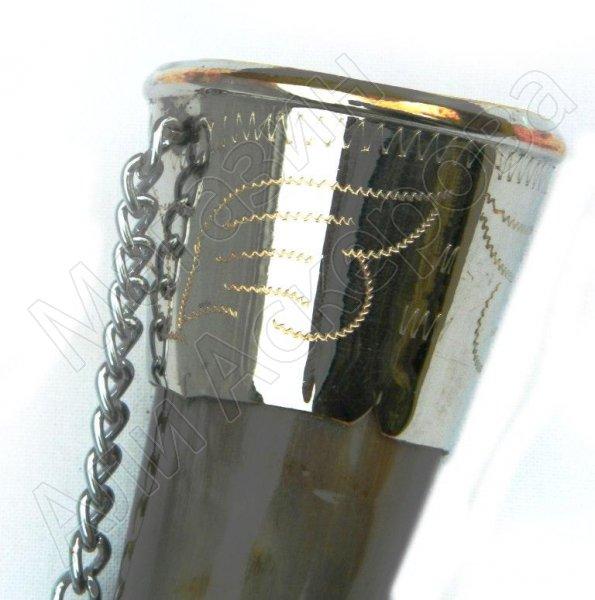 Подарочный рог бычий мельхиоровый малый №2