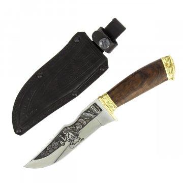 """Кизлярский нож туристический """"Зодиак"""" (сталь - AUS-8, рукоять - дерево, худ. оформ.)"""