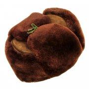 Мужская шапка-ушанка из овчины ручной работы (цигейка) арт.7008