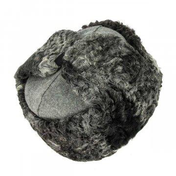 Мужская каракулевая шапка-ушанка ручной работы (сорт - валек)