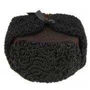 Мужская каракулевая шапка-ушанка ручной работы (сорт - валек) арт.7686