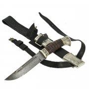 Нож пластунский Витязь (сталь - дамасская, рукоять - венге, худож. литье) арт.9105