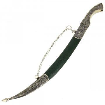 Кинжал (турецкий ятаган) Янычар (ножны – мельхиор, натур.кожа)