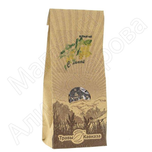 Натуральный чай зеленый байховый крупнолистовой с добавлением цветков липы